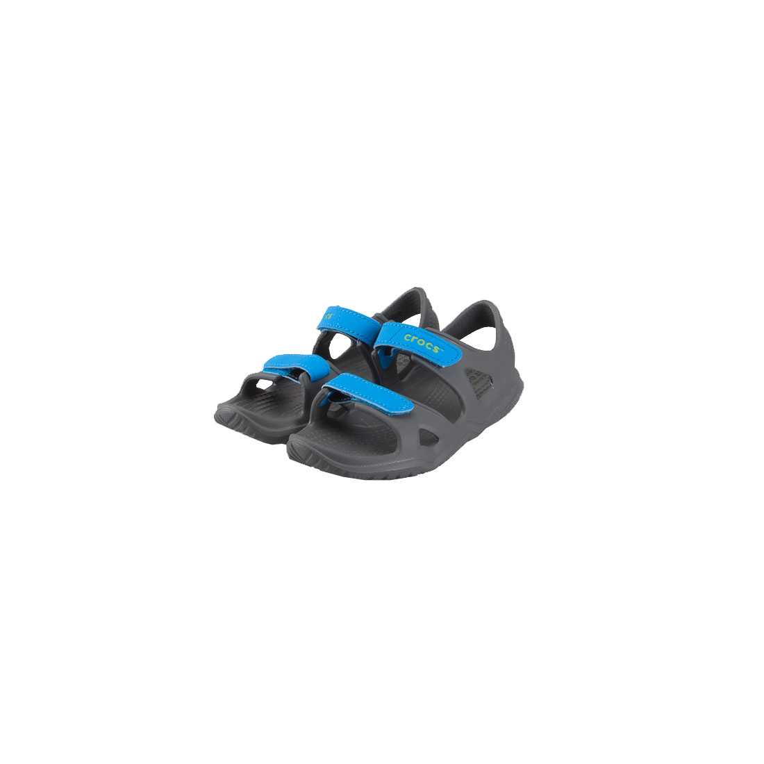a853431377b CROCS 204988-01O SWIFTWATER RIVER SANDAL KIDS SLATE GREY OCEAN RELAXED FIT