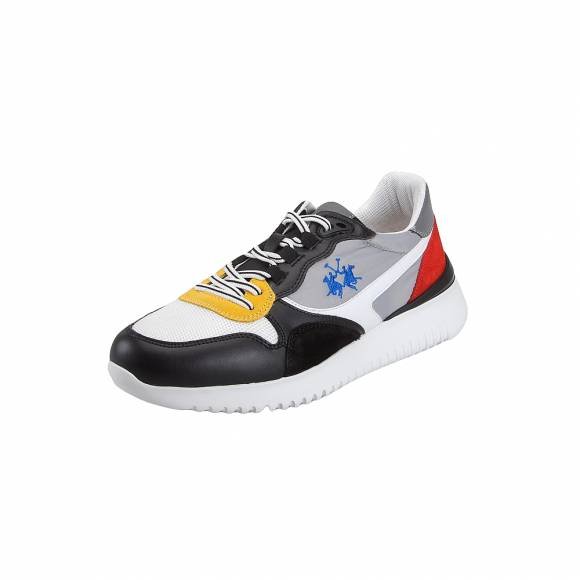 Ανδρικά Sneakers La Martina L7021224 Calf Nero tex At 730 Bianco acc