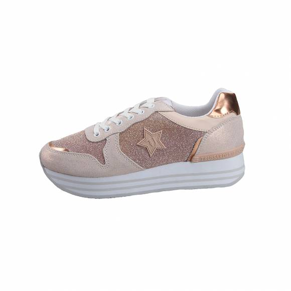 Γυναικεία Sneakers Trussardi Jeans Running Pearl Suede Mirror Pu Mesh Lurex  Lurex Cotton Laces Rose
