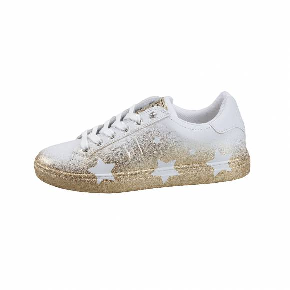 Trussardi Jeans Sneakers Star Synthetic Calf Leather/Spray Glitter Star Eylet Gold