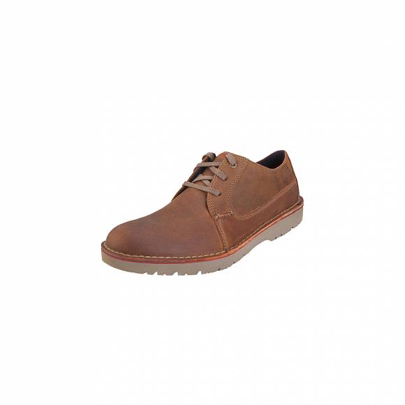 Clarks Vargo Plain Dark 26136676 Tan Leather