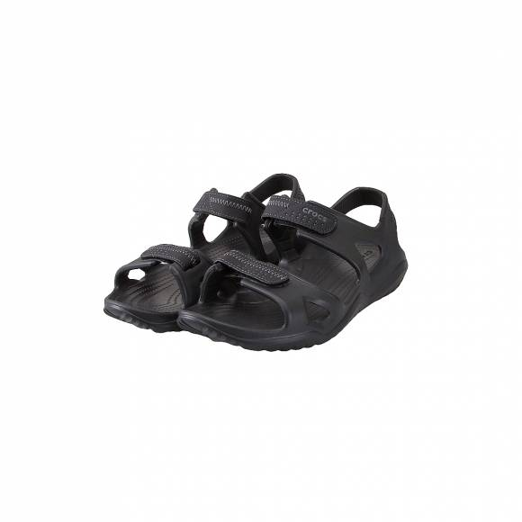 CROCS 203965-060 SWIFTWATER RIVER SANDAL M BLACK BLACK RELAXED FIT