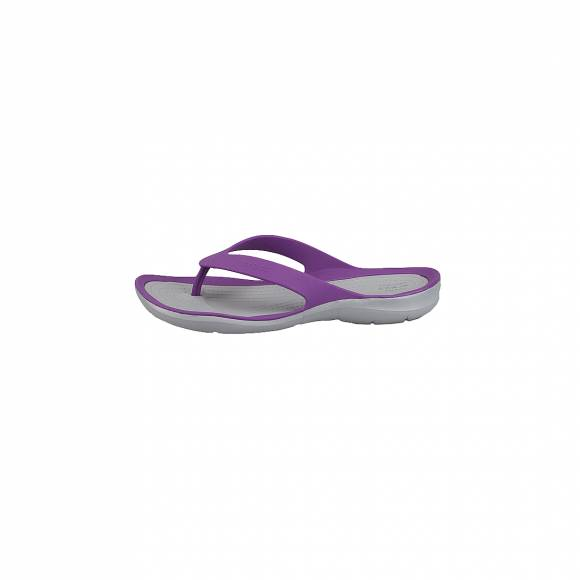 CROCS 204974-5F8 SWIFTWATER FLIP W AMETHYST LIGHT GREY RELAXED FIT