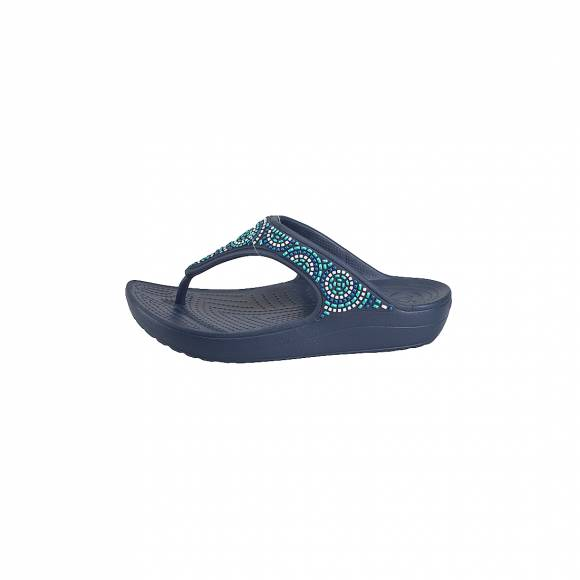CROCS 205051-4AD SLOANE BEADED FLIP NAVY TURQUOISE RELAXED FIT