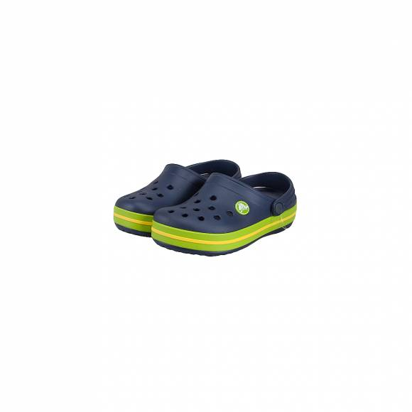 CROCS 204537-4K6 CROCBAND CLOG KIDS PARADISE NAVY VOLT GREEN RELAXED FIT