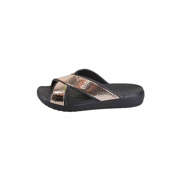 CROCS 205136-080 SLOANE HAMMERED XSTRP SLIDE W BLACK ROSE GOLD RELAXED FIT