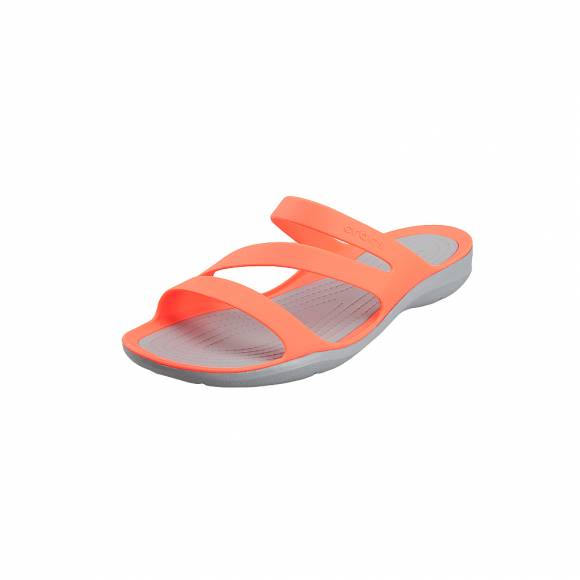 Γυναικείες Σαγιονάρες Crocs Swiftwater 203998 6PK Bright coral light grey Standard fit