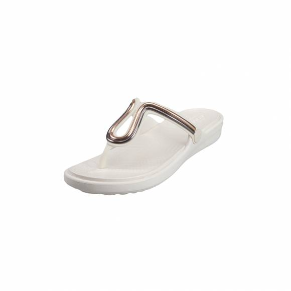 Γυναικείες Σαγιονάρες Crocs Sanrah 205470 6PG Metalblock Flat Flip Multi rose Gold Oyster Relaxed Fit