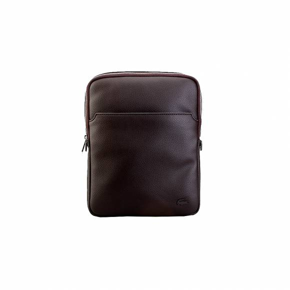 Lacoste NH1741GL 047 Chocolate Brown M Flat Crossover Bag Pvc