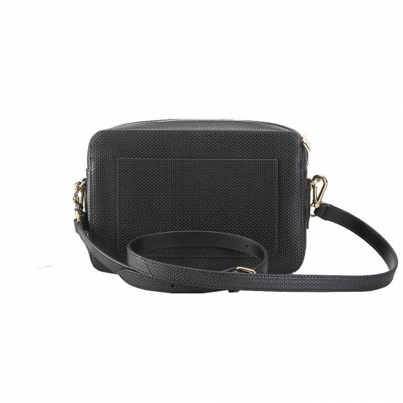 Lacoste NF2564CE 000 Black Square Crossover Bag Split Cow Leather