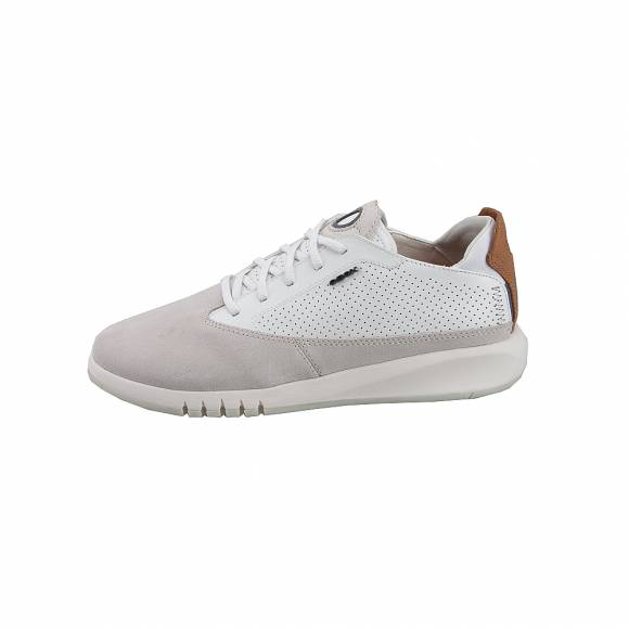 53b1ac3213f Ανδρικά Δερμάτινα Sneakers Geox U927FA 02243 C1S1Z Aerantis suede smooth  leather Papyrus White sneakers ...