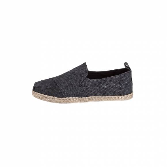 TOMS DECONSTRUCTED ALPARGADA BLACK WASHED CANVAS 10011621