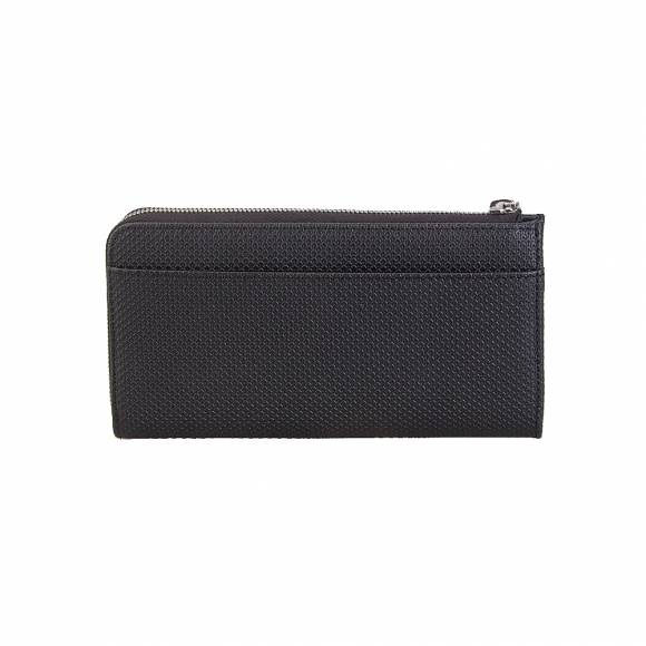 Lacoste NH2639CE Slim Zip Wallet Split Cow Leather 000 Black