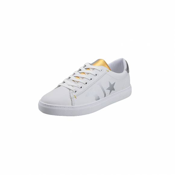 Γυναικεία Δερμάτινα Sneakers Trussardi Sneakers synthetic leather Tongue prin Silver Gold 79A003089Y099999 M021