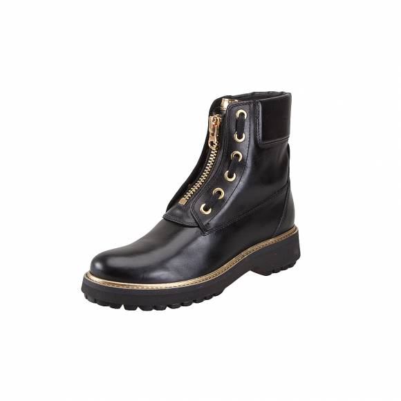 Geox D84ACA 00043 C9999 Asheely plus smoke leather Black ankle boots