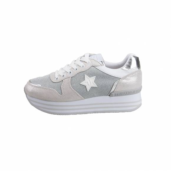 bea3ce0aff7 Γυναικεία Sneakers Trussardi Jeans Running Pearl Suede/Mirror PU/ Mesh  Lurex Cotton Laces Star ...