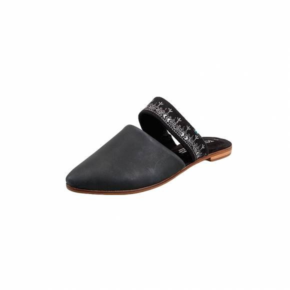 Γυναικεία Δερμάτινα Mules Toms 10013426 Blk leather stra wm Jutmul flat