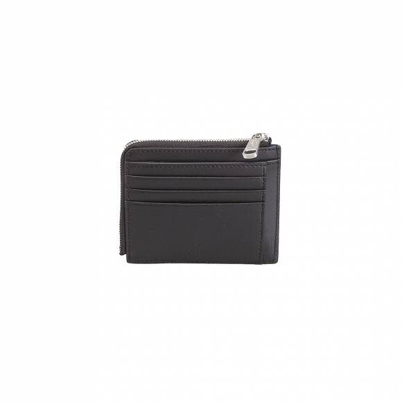 LACOSTE NH2292CE 000 BLACK ZIP AROUND CC WALLET SPLIT COW LEATHER