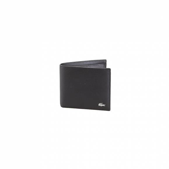 LACOSTE NH111FG 000 BLACK M BILLFOLD COIN COW LEATHER