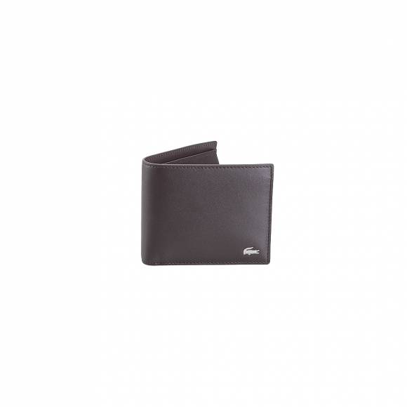 LACOSTE NH1112FG 028 DARK BROWN M BILLFOLD COIN COW LAETHER