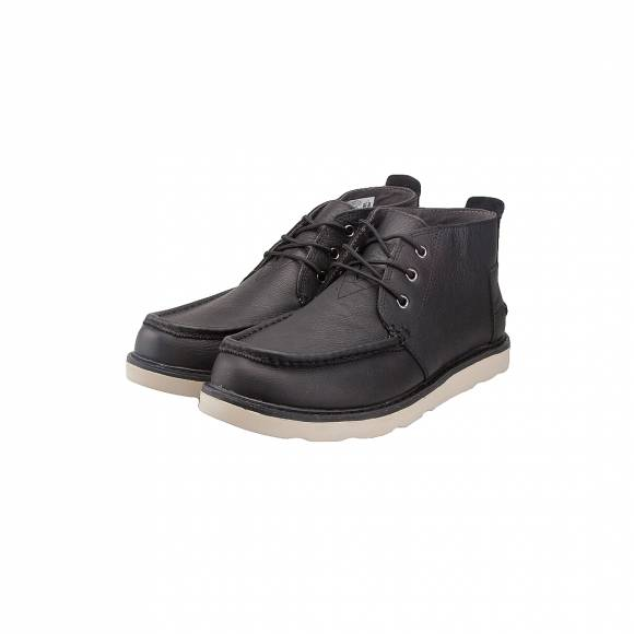 TOMS CHUKKA BLACK PULL UP LEATHER 10010818