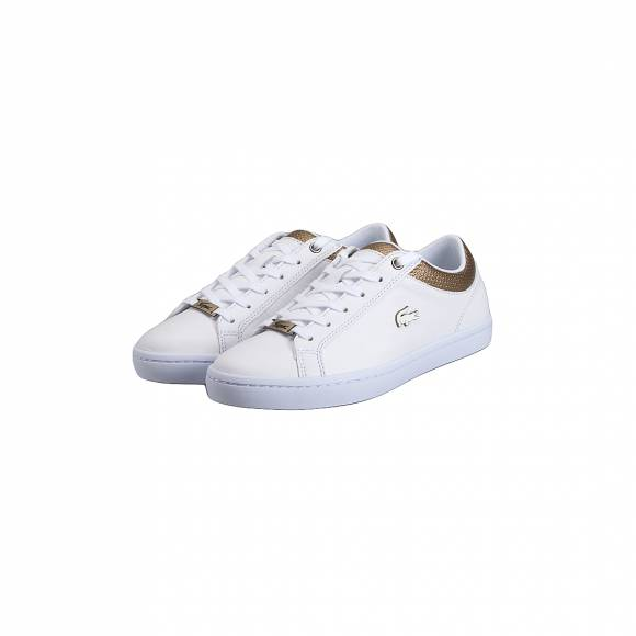 LACOSTE STRAIGHTSET 118 1CAW WHT/GLD LEATHER 7-35CAW0064216
