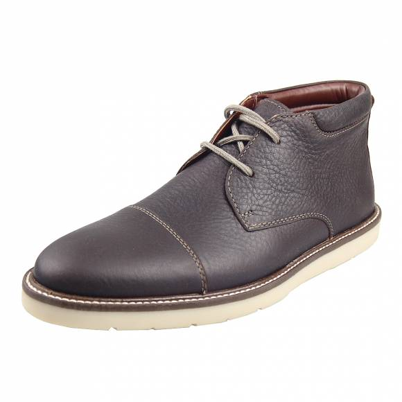 Ανδρικά Μποτάκια Casual Clarks Grandin Top 26148390 7 Dark Brown Tumbied