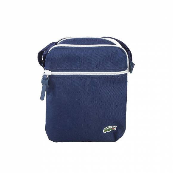 LACOSTE NH1355CP 588 PEACOAT BLUE WHITE VERTICAL CAMERA BAG
