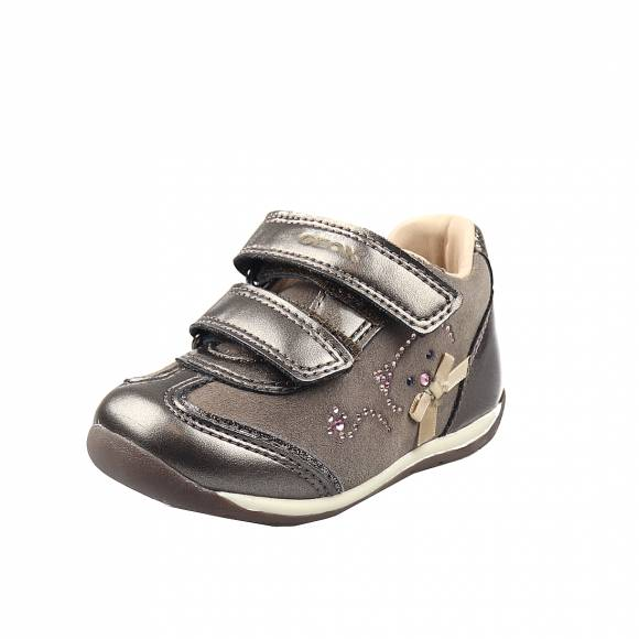 Παιδικά Sneakers Geox B040AA 022NF C9006 B Each Girl Suede Pearl Syn Smoke Grey Baby First Steps
