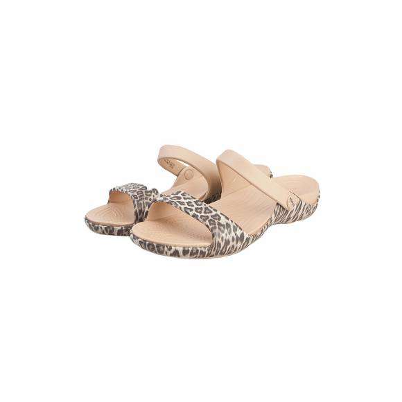 CROCS CLEO V GRAPHIC LEOPARD BLACK RELAXED FIT 204463-95K
