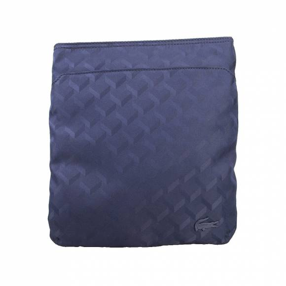 LACOSTE NH19979 964 BLUE JACQUARD FLAT CROSSOVER BAG
