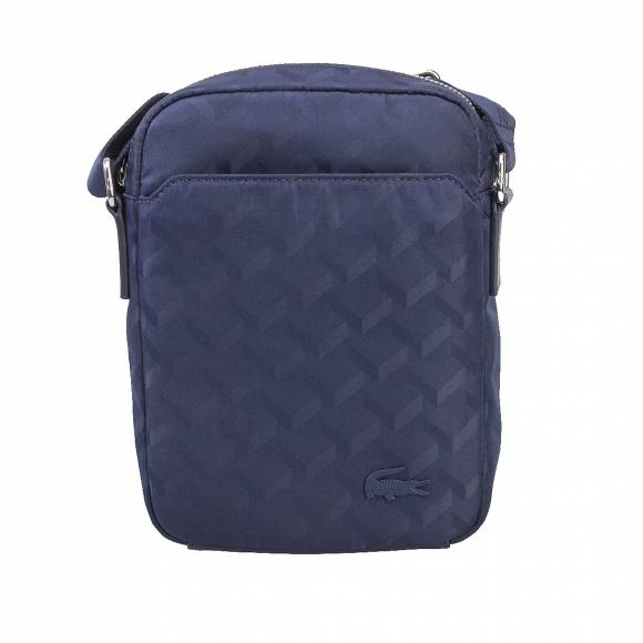 LACOSTE NH2113ND 984 BLUE JACQUARD VERTICAL CAMERA BAG