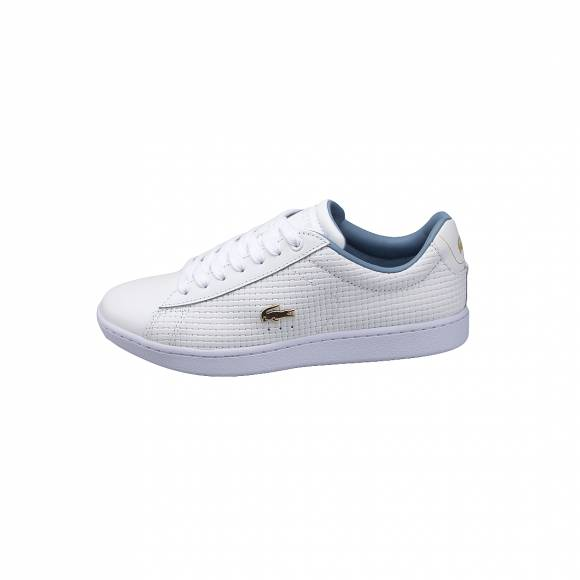 LACOSTE CARNABY EVO 118 5 SPW WHT/LT BLU LEATHER 7-35SPW00121T3