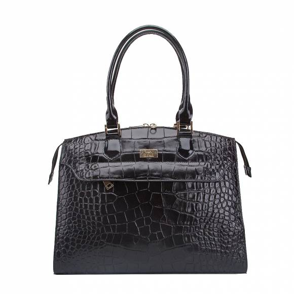 FOUR KNOT 0036 BLACK  CROCO LEATHER