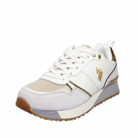 Γυναικεία Δερμάτινα Sneakers Us Polo Assn Tabitha4 White Gold Frida 4103W8 NS1