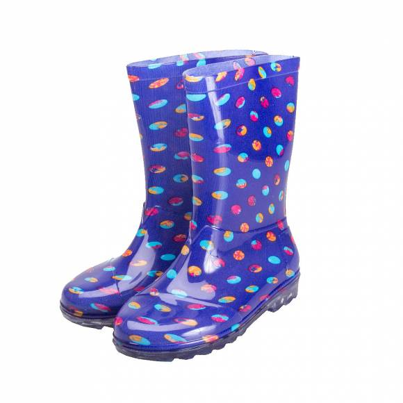 TOMS RAIN BOOT BLUE DOTS PVC 10006266