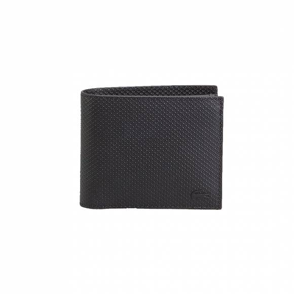 LACOSTE NH1988CE 000 BLACK L BILLFOLD COIN SPLIT COW LEATHER