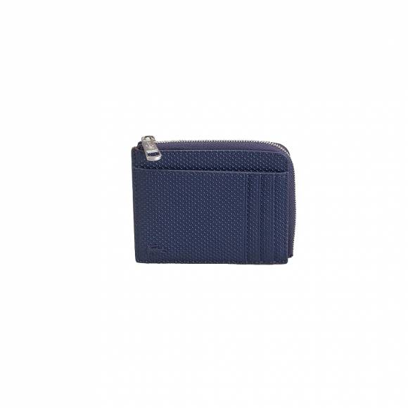 LACOSTE NH2292CE 021 PEACOAT ZP AROUND CC WALLET SPLIT COW LEATHER
