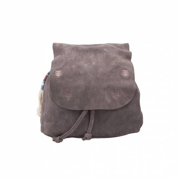 10010969 COAL SUEDE EMBROID BACKPACK