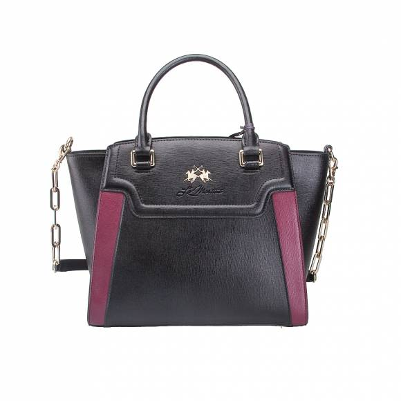 LA MARTINA HANDBAG LA PORTENA 41W005 K0001 B9082 BLACK PURPLE