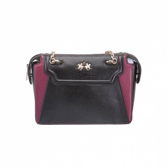 LA MARTINA SHOULDER BAG LA PORTENA 41W058 K0001 B9082 BLACK PURPLE