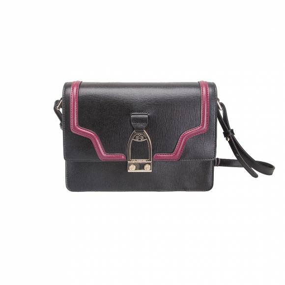 LA MARTINA SHOULDER BAG LA PORTENA 41W060 K0001 B9082 BLACK PURPLE