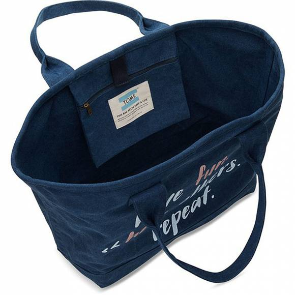 TOMS 10010076 NAVY PRINTED CANVAS TOTE